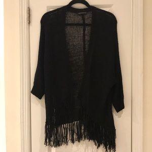 Sweaters - Black Fringe Cardigan